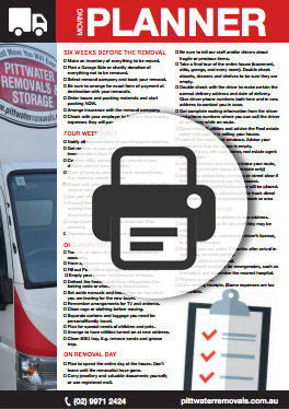 Free Moving Home Planner - Pittwater Removals. Download & Print