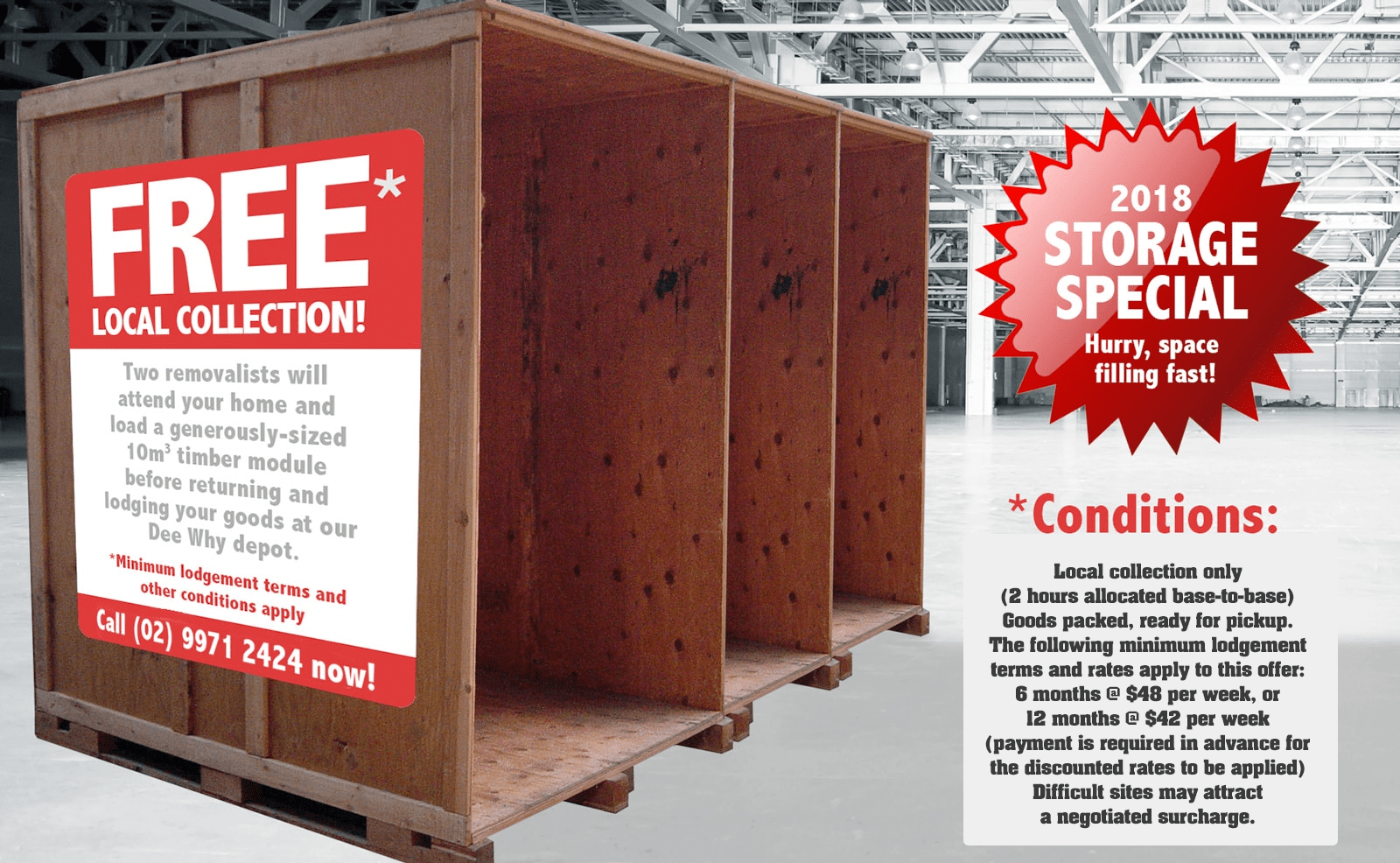 2018 Self-Storage Special Offer - Free Northern Beaches Collection!